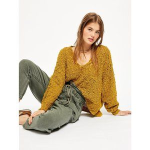 Free People Sunday Shore Pullover Sweater / Gold